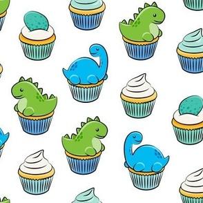 dinosaur cupcakes - dino birthday - trex - white LAD19