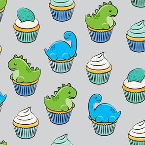 dinosaur cupcakes - dino birthday - trex - grey LAD19