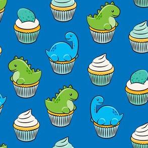 dinosaur cupcakes - dino birthday - trex - blue LAD19