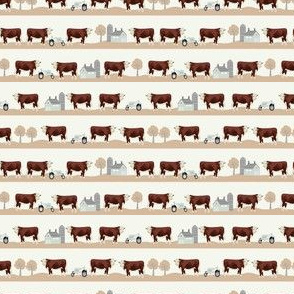TINY - hereford cow farm animals fabric - farmyard fabric, cattle cow fabric - tan