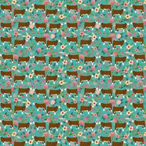 TINY - hereford cattle floral fabric - floral cow print, cow fabric, hereford cow fabric, - turquoise