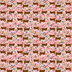 TINY - hereford cattle floral fabric - floral cow print, cow fabric, hereford cow fabric, -  pink