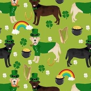 labrador leprechaun fabric - dog fabric, dogs fabric, cute march 17th fabric, irish fabric, cute dog - green