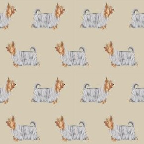 silky terrier dog fabric - terrier dog fabric, dog breed fabric, dogs fabric, silky terrier pattern - khaki