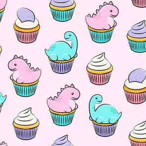 dinosaur cupcakes - dino birthday - trex - pink  LAD19