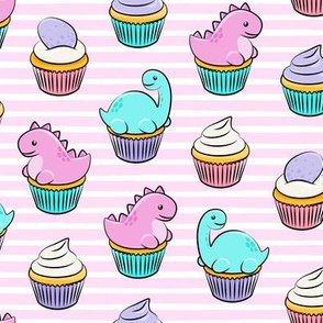 dinosaur cupcakes - dino birthday - trex - pink stripes LAD19