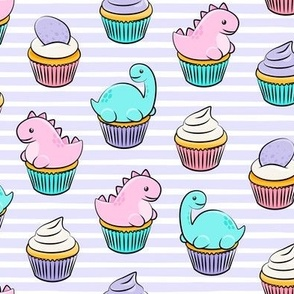 dinosaur cupcakes - dino birthday - trex - purple stripes LAD19