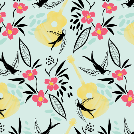 Rockabirdie- Swallows and Acoutstic Guitars fabric by katie_hayes on Spoonflower - custom fabric