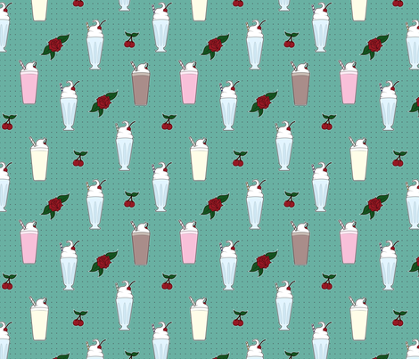 Rockabilly Milkshakes  fabric by svaeth on Spoonflower - custom fabric