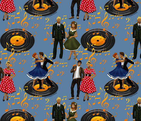 Rockabilly Dancers on Slate Blue fabric by ms__contrary on Spoonflower - custom fabric