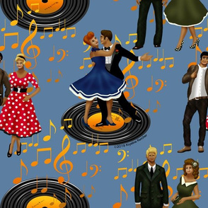 Rockabilly Dancers on Slate Blue