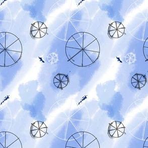Wheels on blue watercolor