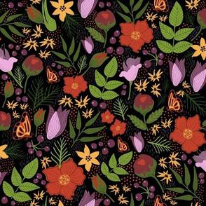 Garen Floral Black Background