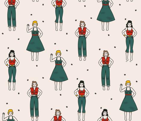 Tattoo-style tough chicks! fabric by deblal on Spoonflower - custom fabric