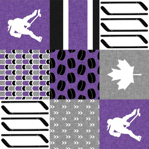 Women's Hockey//Canada//Pretty & Nice//Purple - Wholecloth Cheater Quilt - Rotated