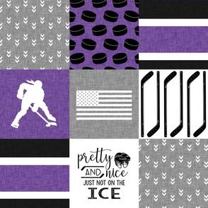 Women's Hockey//USA//Pretty & Nice//Purple - Wholecloth Cheater Quilt