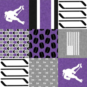 Women's Hockey//USA//Pretty & Nice//Purple - Wholecloth Cheater Quilt - rotated