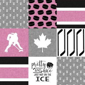 Women's Hockey//Canada//Pretty & Nice//Pink - Wholecloth Cheater Quilt