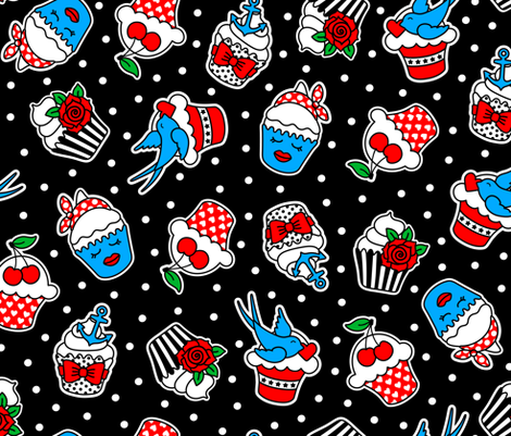 Rockabilly Cupcakes fabric by moonpuff on Spoonflower - custom fabric