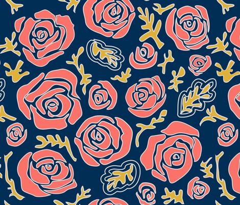 CoralRoses fabric by tomokosart on Spoonflower - custom fabric