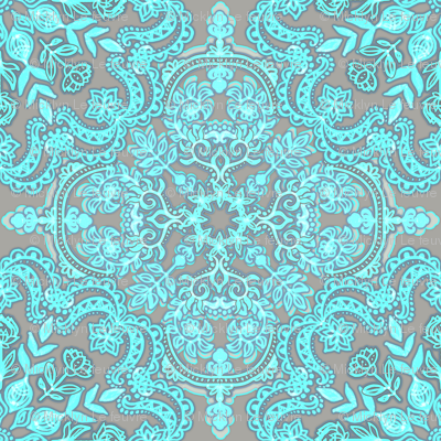 Bright Aqua & Grey Folk Art doodle pattern Small