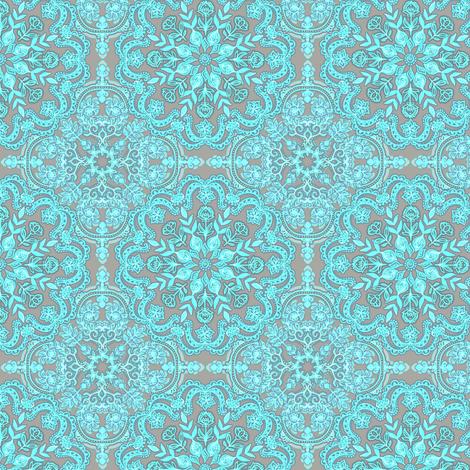 Bright Aqua & Grey Folk Art doodle pattern Small fabric by micklyn on Spoonflower - custom fabric