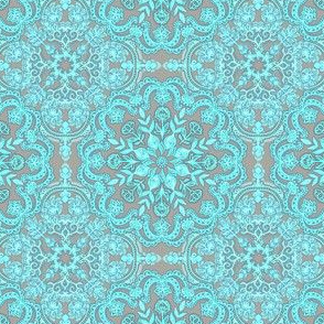 Bright Aqua & Grey Folk Art doodle pattern Small