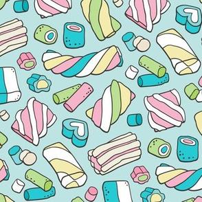 Marshmallows Candy Food on Light Blue Aqua