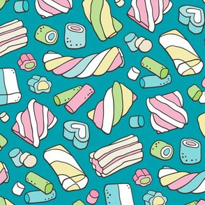 Marshmallows Candy Food on Teal Blue