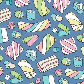 Marshmallows Candy Food on Dark Navy Blue