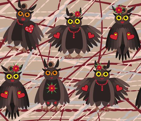 Glamorous owls fabric by inna_alborova on Spoonflower - custom fabric