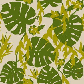 Tropical Jungle - Taupe & Green