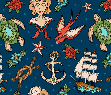 Art of a Sailor fabric by nixels on Spoonflower - custom fabric