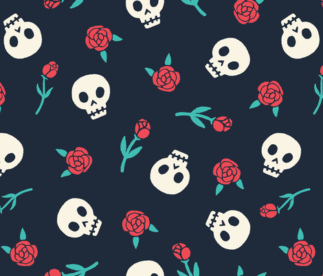 Skulls and roses fabric by kondratya on Spoonflower - custom fabric