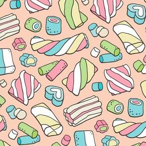 Marshmallows Candy Food on Peach