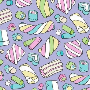 Marshmallows Candy Food on Purple