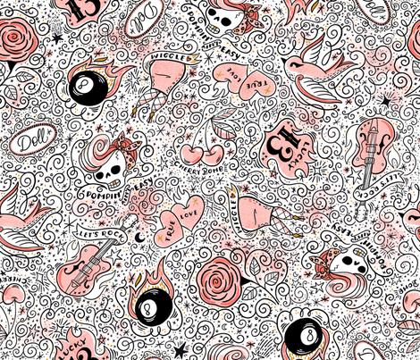 Rad Rockabilly Tats  fabric by cynthiafrenette on Spoonflower - custom fabric
