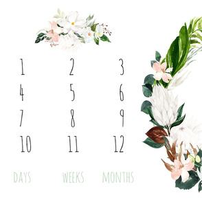 "54""x36"" // Paradise Florals Baby Milestone Blanket"