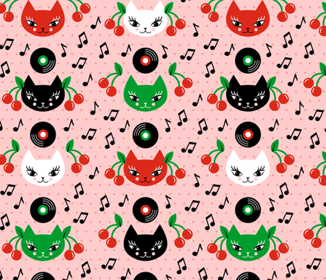 Rockabilly Cats fabric by pinkdeer on Spoonflower - custom fabric