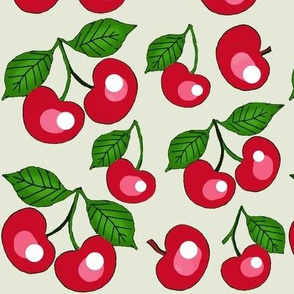 My Cherry Delight /  red cherries on off white