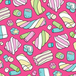 Marshmallows Candy Food on Dark Pink