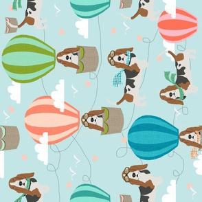 basset hound hot air balloon fabric - basset hound design, hot air balloon fabric, dog fabric