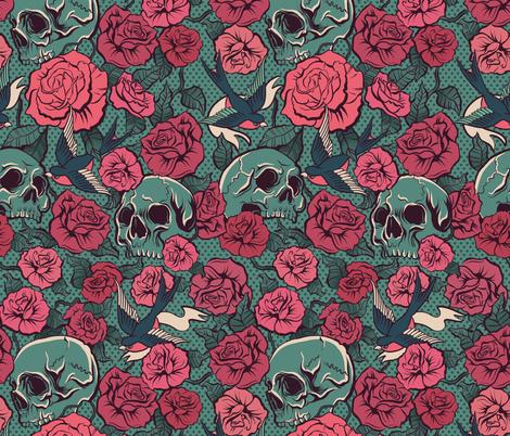 rockabilly skull fabric by torysevas on Spoonflower - custom fabric
