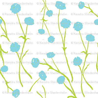 Summery Flowers, Watercolor, Bright Blue