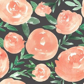 Peach and Gray Watercolor Florals