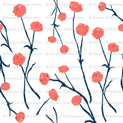Flowers, Watercolor, Living Coral and Midnight Blue