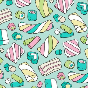 Marshmallows Candy Food on Mint Green
