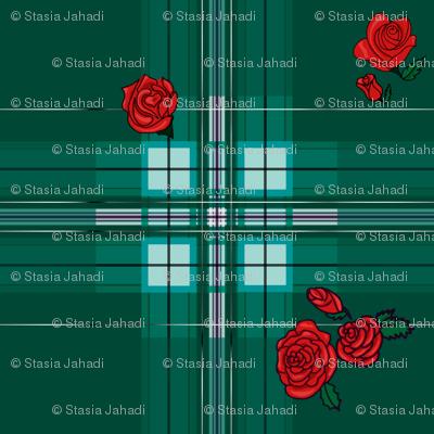 Rose Rockabilly Plaid