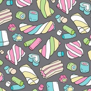 Marshmallows Candy Food on Dark Grey