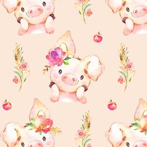 Miss Piglet - Baby Girl Pig with Flowers & Apples (blush) - LARGER Scale